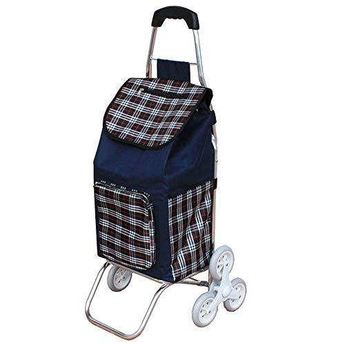WPCBAA Climbing the floor to buy food shopping cart folding aluminum alloy trolley Oxford cloth bearing strong small cart (Color : A)