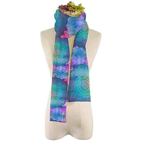 EVEYYWJ bufanda de felpa para mujer de moda personalizable Bufanda Azulejo Mandala Bufandas suaves vintage Más bufanda-HZWJ-4,21 * 184cm