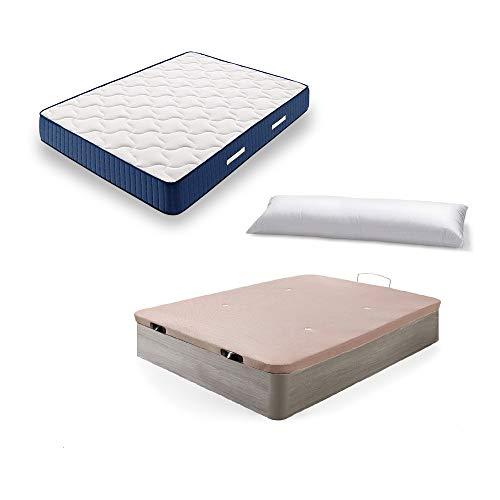 Hogar24 Es Cama Completa-Colchón Viscoelástico Viscorelax + Canape Abatible de Madera Color Roble Cambrian + Almohada de Fibra, 135x190 cm, 135x190