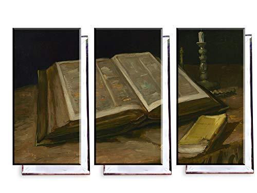Unified Distribution Vincent Van Gogh - Stillleben mit der Bibel - Klassisches Gemälde - Replik auf Leinwand Dreiteiler (120x80 cm)