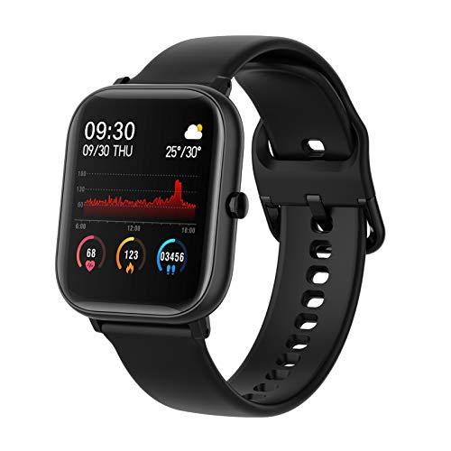BNMY Smartwatch, Reloj Inteligente Impermeable IP67 para Hombre Mujer Niños, Pulsera De Actividad Inteligente con Monitor De Sueño Contador De Caloría Pulsómetros Podómetro para Android iOS,Negro