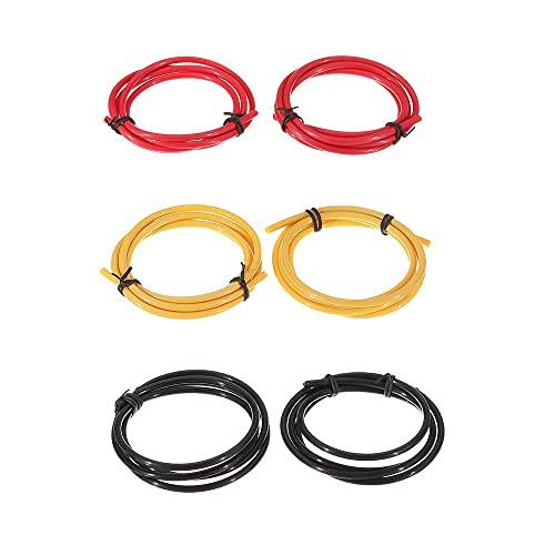 OverTop 2 tubos de PTFE de 4 mm de 1 m, negro/rojo/amarillo con 8 piezas PC4-M10 + 8 piezas PC4-M6 de conector neumático para impresora 3D, color rojo y negro