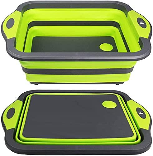 Tabla de Cortar Plegable de conveniencia - Tabla de Cortar multifunción, escurridor de Lavabo y tazón de Lavado Tapón de Drenaje de la Tina del Plato Cocina Duradera (Color: Verde) Estante