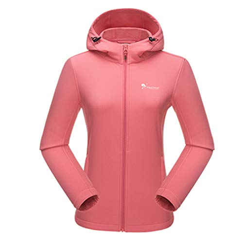emansmoer Femme Outdoor Soft Shell Fleece Lining Vestes Lady Water Resistant Sports Coat Trekking Camping Hoodie(XL, Pink)