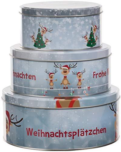 Brandsseller 3er Set Keksdose Rentier Weihnachtsdose Plätzchendose Gebäckdose Metall Blau/Grau