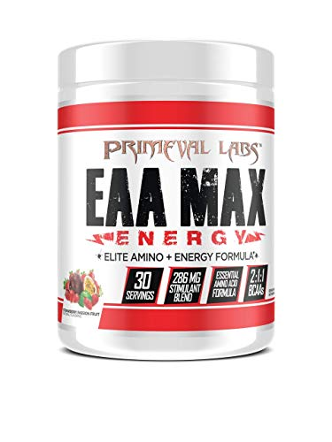 EAA Max Energy by Primeval Labs | Aminos, Energy, Muscle Recovery (Strawberry Passion Fruit)