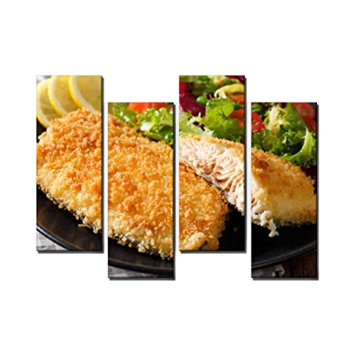 Wocatton Fried Arctic Char Fish Fillet in breadcrumbs and Fresh Vegetable Salad Wall Art Background Decor Pictures Print On Canvas Art Stretched and Framed Perfect Home Decoration