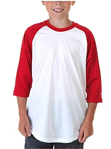 Badger Sport Boys Baseball Jersey Manches 3/4 – White/Red, Blanc/Rouge