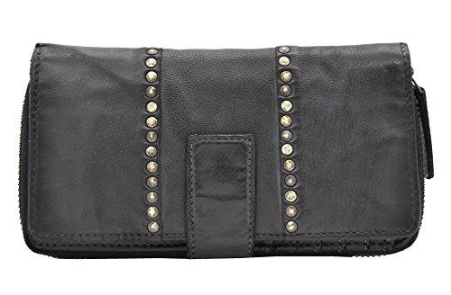 Damen Geldbörse lang weiches Lammnappa-Leder Jockey Club Shabby Chic Used Optik Vintage Style Nieten schwarz