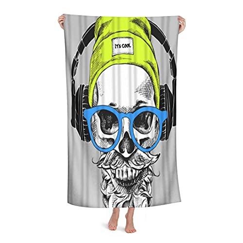 De Gran Tamaño Microfibra Ultra Suave Toalla de Baño Manta,Cráneo Barba Bigote Hipster Sombrero con Auriculares Arte Música Divertida,Toalla de Playa Hoja de Viaje Piscina Cámping Deportes,32' x 52'