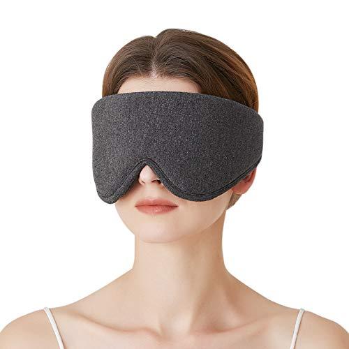 JOBYNA Latex Schlafmaske für Frauen Männer, Einstellbare Hautfreundliche Augenmaske, Lichtblockierend Augenbinde Schlafbrille für Reisen / Nickerchen / Schlafen (Dunkelgrau)