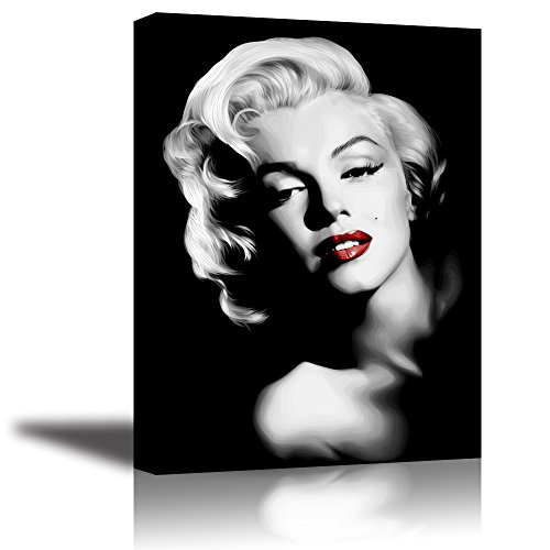 Monroe Canvas Wall Art, PIY Red Lips Monroe Wall Decor, 1 Piece Black and White Canvas Prints for Bedroom, 1 Deep Frame, Ready to Hang, Water Proof Artwork Decal