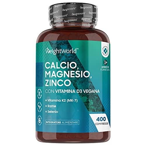 Calcio Magnesio Zinco e Vitamina D - 400 Compresse Vegan (Scorta per 1+ Anno) - Integratore di Calcio ad Alto Assorbimento, con Aggiunta di Selenio, Vitamina K2, Manganese, Boro, Rame - Senza Glutine