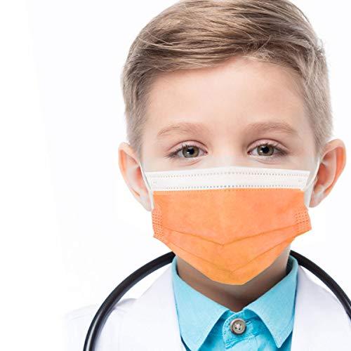 azurano Einweg Alltagsmaske Gesichtsmaske Behelfsmaske | 50 Stück Kinder Orange | 3-lagige Mund-Nasen-Bedeckung aus weichem Vlies | atmungsaktiv | geruchsneutral