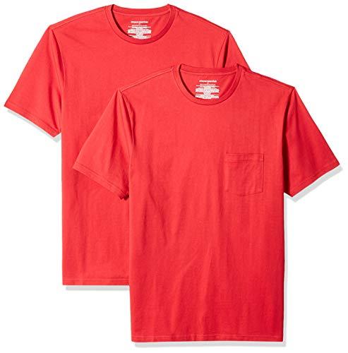 Amazon Essentials - Maglietta da uomo a maniche corte, vestibilità aderente, girocollo, 2 pezzi, Rosso (Red Red), US XS (EU XS)