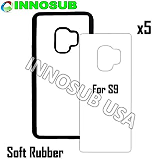 5 x Samsung Galaxy S9-Rubber-Black - Blank dye case + Inserts for dye Sublimation Phone Cover/Blank Printable case, Made by INNOSUB USA