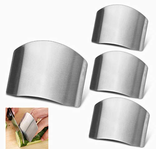4 Pack Finger Guards for Safe to Slice Vegetables Fruit Stainless Steel Finger Hand Protector for Cutting Meat Chef Kitchen Tool Gadgets by RuiChy