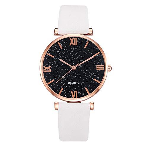 Relojes Para Mujer Reloj de moda casual para mujeres Número romano Starry Sky Dial Reloj de cuarzo de cuero elegante Reloj de pulsera Regalo Relojes Decorativos Casuales Para Niñas Damas ( Color : F )