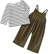 Toddler Baby Girl Pants Sets Stripe Long Sleeve T-Shirt Top + Strap Overalls Loose Jumpsuit Fall Outfits Clothes 6M-4T (Green, 2-3T)