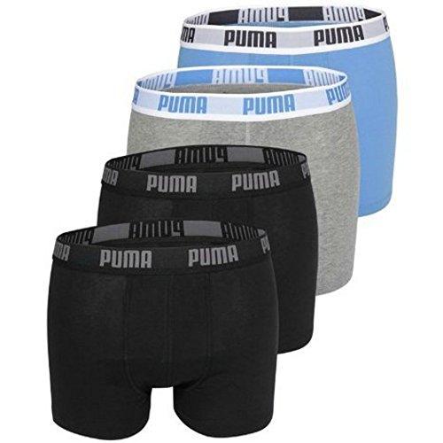 PUMA 4er Pack Basic Boxershorts im Vorteilspack + sehr schneller (L, Black/Melange)