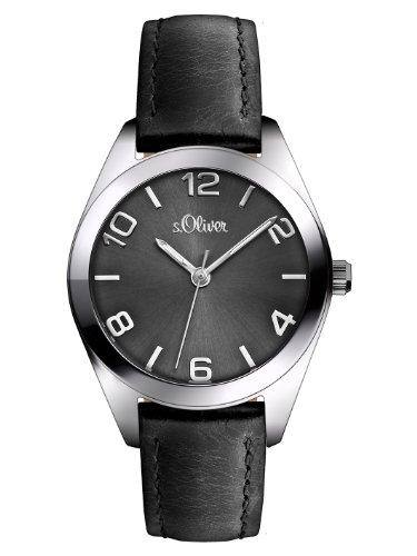 s.Oliver Damen-Armbanduhr XS Analog Quarz Leder SO-2769-LQ, schwarz