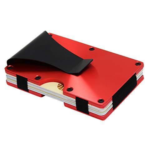 Metal Wallets for Men or Women with Money Clip - Slim Minimalist Aluminum Wallet Credit Card Holder RFID Blocking(Cd Raised Grain, Red)