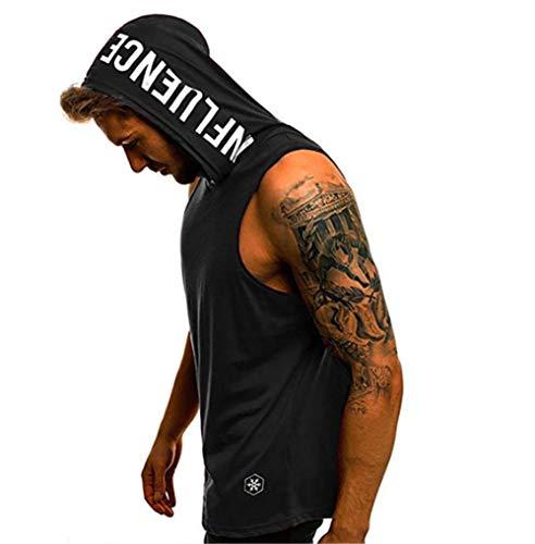 Camiseta con Capucha de Tirantes Deportes para Hombre, Tops Camisa sin Mangas de Verano Fitness Tirantes Muscle Estampado
