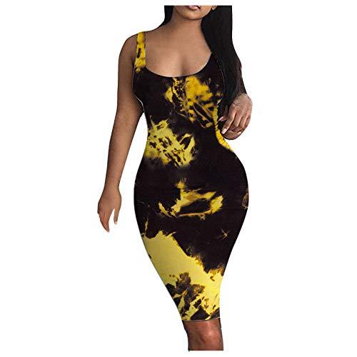 FAMOORE Womens Spring Dresses Women'S Club & Night Out Dresses Women's Tie-dye Tank Dress Sleeveless Basic Midi Club Dresses Party Mini Dress