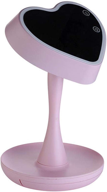 Dingmart-Schminkspiegel wiederaufladbare Bunte herzfrmige Tischlampe Spiegel Licht Spiegel Kamm Tischlampe Nachtlicht