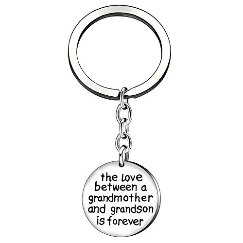 Christams Thanksgiving Key Chain Ring Family Gift The Love Between a Grandmother and Grandson is Forever