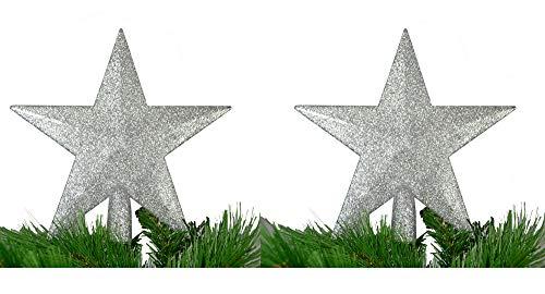 warenplus2014 Pack of 2 Christmas Tree Stars, Christmas Tree Topper, Silver, Shiny (Star)