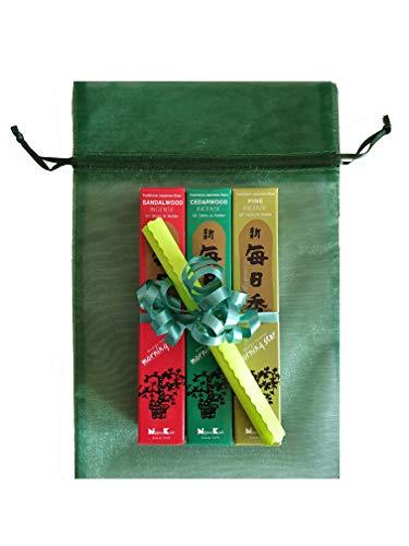Coffret cadeau : 3 paquets de bâtonnets d'encens japonais Morning Star avec parfum Thème « Forêt » (Pin, bois de santal et au cèdre) dans boîte de rangement avec or impression.