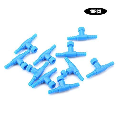 Válvula de control de flujo de aire de 10 piezas, acuario de plástico, válvulas de control de bomba de aire de 3 vías, conector de manguera de tanque de peces de acuario en forma de T, suministros de