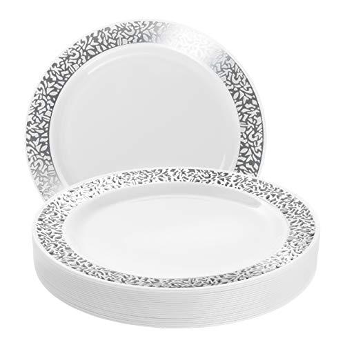 Matana 20 Platos de Plástico Blanco Duro con Borde Plateado, 26cm - Platos de Fiesta - Elegante, Resistente y Reutilizable.