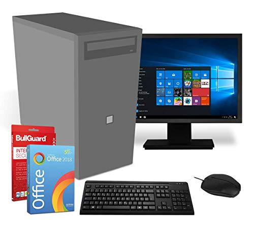 Home & Office PC Komplettsystem | Intel-CPU@ 2,8GHz | 4GB | 500GB HDD | DVD-Brenner | 19 Zoll Flachbildschirm | USB Maus & Tastatur |Windows 10 Pro | BullGuard | SoftMaker Office (Generalüberholt)