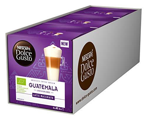 NESCAFÉ Dolce Gusto Guatemala Latte Macchiato Milch- & Kaffeekapseln (100% biologischer Anbau, Bio-Kaffee vereint mit Bio-Vollmilch, 18 Portionen), 3er Pack (3 x 12 Kapseln)