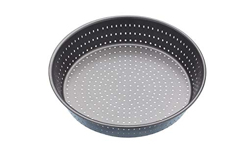 masterclass Crusty Bake Teglia Rotonda da Forno Antiaderente Traforata, Acciaio, Grigio, 23 cm