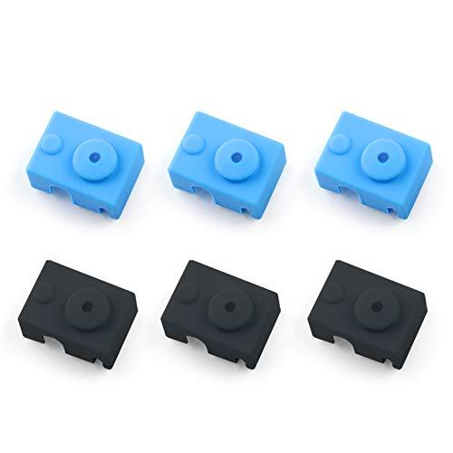 Funda de Silicona para Impresora 3D 6pcs Cubiertas para Bloque Calentador de Silicona Cubierta de Calcetines de Impresora 3D para E3D V6 PT100, Negro y Azul