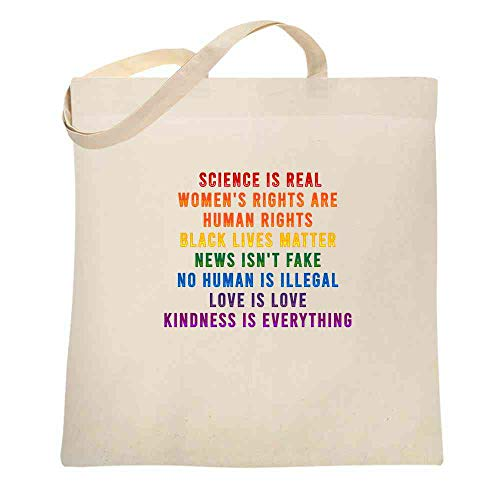 Science Is Real Black Lives Matter Womens Rights LGBTQIA Kindness Rainbow Facts Natural 15x15 inches Large Canvas Tote Bag Women