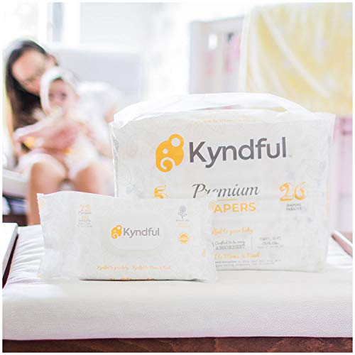 (1-Month Bundle) Kyndful Organic Diapers + Baby Wipes (20-29 Lbs, Size 3): 128 Chlorine Free Diapers (4 Packs) w/Overnight Leak-Stop Comfort + 216 ct. Natural & Unscented Wipes (3 Flip-Top Packs)