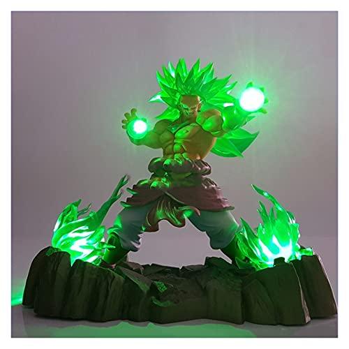 MOLUO Lámpara luz Nocturna niños Dragon Ball Z Broly Super Saiyan Figuras de acción LED Encender iluminación PVC Anime Dragon Ball Super Goku Broly Modelo de Juguete Figurine DBZ