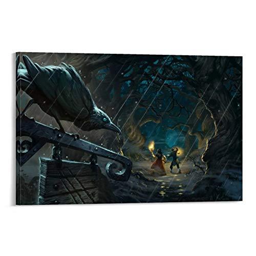 DRAGON VINES Hearthstone The Witchwood Adventure Forest Crow Unheimliche Horror Poster Bilderrahmen zum Aufhängen Wohnzimmer Display Dekoration 40 x 60 cm