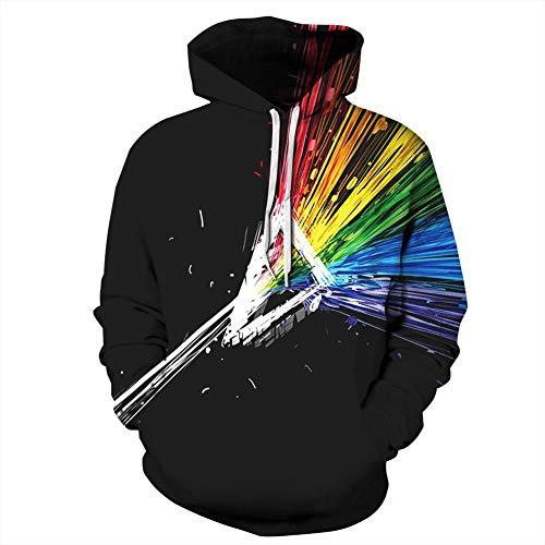 Kleur 3D Digital Printing Hooded Hooded Paar Trui, Losse Hipster Honkbal Uniform stijlnaam XX-Large Kleur