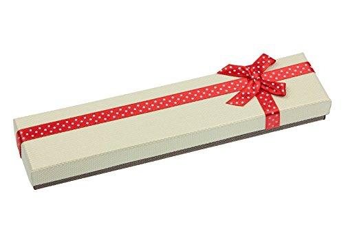 EYS JEWELRY Schleife Schmuck-Etui für Armband 225 x 40 x 25 mm Kartonage rot Armband-Box Schachtel Schatulle Geschenk-Verpackung Hals-Kette