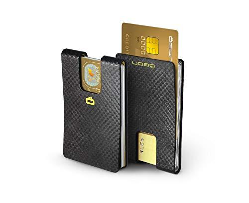 Ögon i3C Injected Carbon Card Clip Cartera Ultra Compacta Fibra de Carbono Negra
