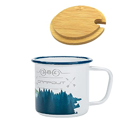 NAOMIXING Camping Coffee Mugs Travel Mug Enamel Mug Cappuccino Holiday Tin Cup Ember Mug Ceramic Decor Design With Lid RV Men Women Gifts For Campers(forest elk-white)