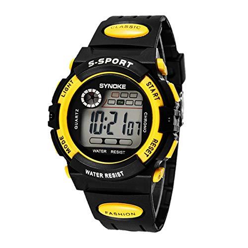 キッズ 腕時計 男の子 ウォッチ ハンド時計 デジタルウォッチ スポーツ腕時計 アウトドア ライト 防水 ファッション 5色あり (イエロー)