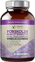 100% Pure Forskolin - Non GMO, Gluten Free & Made in USA - Coleus Forskohlii Extract 60ct