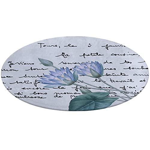 Tapis de salle de bain - Motif Lotus Redouté - Bleu - Revêtement vintage - Antidérapant - Absorbant - Pieds ronds - Lavable - 61 cm
