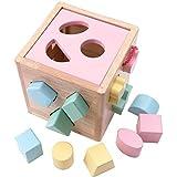 Blocchetti di costruzione in legno, forma Color Sorter Giocattolo per bambini Forma di riconoscimento del colore Cubo di smistamento per i più piccoli Imparare a ordinare e abbinare i giocattoli,Rosa